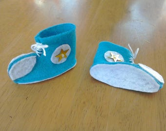Felt larger elf doll trainers in teal