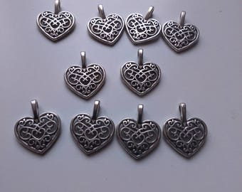 set of 10 heart charms