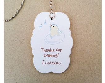 Custom Easter Favor Tags - Easter Baby Shower Gift Tags - Baby Bird Gift Tags - Thanks For Coming Gift Tags - Shower Thank You Tags - TG-07