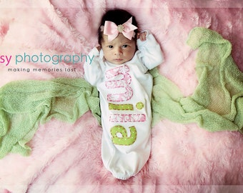 Hand Appliqued Personalized Infant Baby Girl Gown Pink and Green