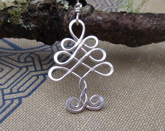 Little Celtic Tree  Pendant, Silver Tree of Life Wire Necklace, Christmas Gift Celtic Jewelry, Tree Necklace, Christmas Tree Clothing Gift