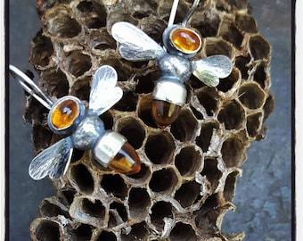 Citrine Bee Earrings, Honeybee Earrings, Citrine Bees,November Birthstone, Apis mellifera, Sterling Honeybee Earring, Silver Bees andCitrine