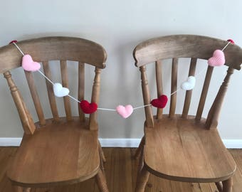 Large Hearts Knitted Garland