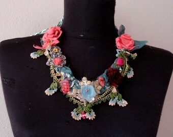 Braided fabric necklace, Multi color Beaded Jewellery. Handmade Statement bib necklace. Adjustable tie Fabric jewelry.