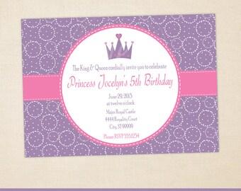 Princess Party Invitation - Princess Invitation - Princess Birthday Invite - Princess Thank You Card - Digtal & Printed Available
