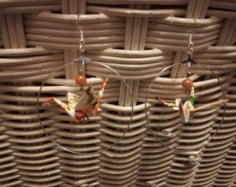 Origami Earrings Beige Crane