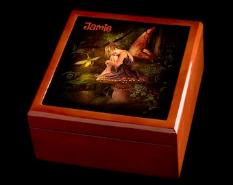 Personalised Fairy Jewellery Box, Personalised Jewellery Box, Fairy Art, Fairy wooden Jewellery Box, Fairy Gift idea