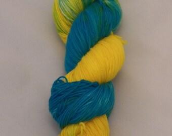 Caribbean Current- Sock Superwash Yarn- Hand Dyed- OOAK- 0020