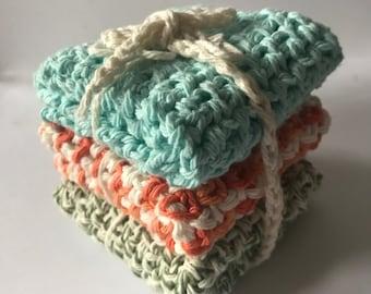 Crocheted washcloths set of 3