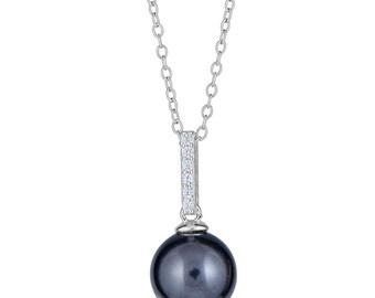 Tahitian Black Pearl Necklace - Tahitian Pearl Necklace - Single Black Pearl Necklace - Bridesmaid Necklace Pearl - Sada Jewels