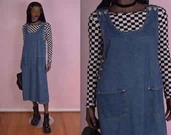 90s Denim Jumper Dress/ Medium/ 1990s