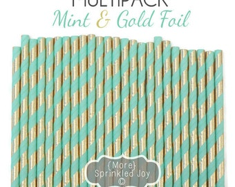 MINT GOLD STRIPED Paper Straws, Gold Foil, Mint & Gold Party Decor, Cake Pops, Birthday Party Supplies, Baby Shower, Bridal, Wedding, Baby