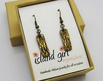 Bronze Bar Earrings, Handmade Bronze Earrings, Flame Earrings, Long Bar Earrings, Long Dangle Earrings, Gold Earrings, Gold and Black