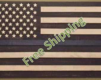 Rustic Thin Blue Line American Flag Constructed from Reclaimed/Repurposed Wood (Free Shipping)