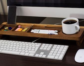 Walnut Wood Desk Organizer, Desk Accessories, Personalized Office & Home Organizer, Keyboard Rack, Office Desk Decor, Unique Gift for ALL