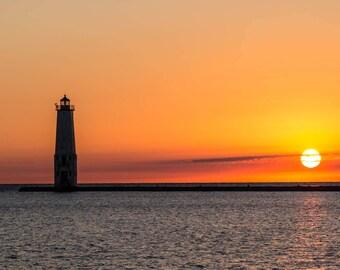 Michigan Sunset, Michigan Art, Michigan Photography, Michigan Lighthouse, Beach Art, Great Lakes Art, Great Lakes Decor, Great Lakes Photo