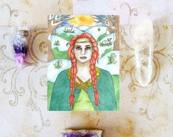 Goddess Art Celtic Goddess Brigid Prayer Card Brighid Imbolc St Bridget Mythology Divine Sacred Feminine Fantasy Art Print Spiritual Art