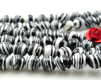 64 pcs of Zebra Stone smooth round beads in 6mm