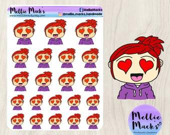 IN LOVE ADORE Chibi Emotions Kawaii Hand Drawn Mood Tracker Planner Stickers for Erin Condren, Happy Planner, Plum Paper, Kikki K