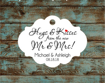 Personalized Hugs and Kisses Wedding Reception Favor Tags # 792 Qty: 30 Tags