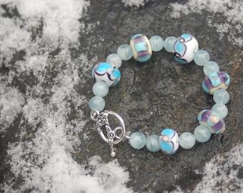 "Lampwork and Aquamarine Bracelet, ""Darla's Dream"""