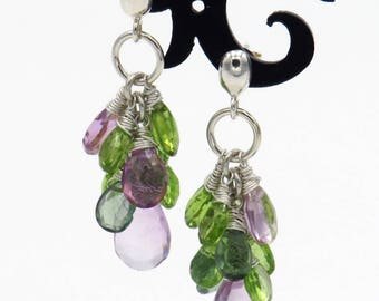 Gemstone Cluster Earrings - sterling silver, rose amethyst, peridot & apatite briolettes