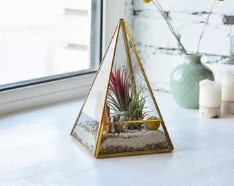 Kleine geometrische Glas Terrarium Behälter Hochzeit Schreibtisch Dekor Gold Ppanter Hochzeit Glas Dekoration geometrische Pflanzer Hochzeit Herzstück