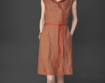 Linen women dress, Pure linen dress, Copper color linen dress, Linen Dress, Linen clothing, linen clothes, Organic Linen Dress
