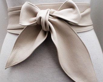 Cream Leather Obi Belt tulip tie| Obi Sash Belt | Leather Tie Belt | Real Leather Belt| Handmade Belt | Plus size belts| various sizes