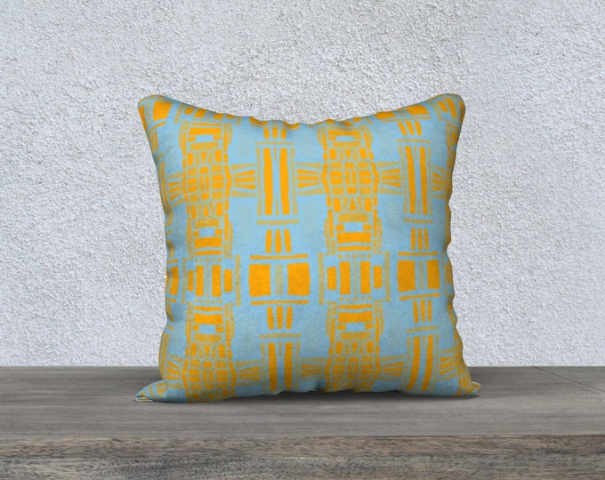 Tiki Pattern Pillow Cover in blue & yellow, Pillow Cover, Throw pillow, sofa pillow, Mid-Century Pillow