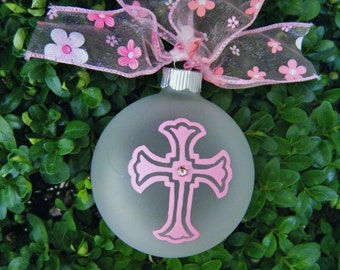 Pink Cross Ornament for Girl - Birthday or Baptism or First Communion - Pink Cross - Personalized Cross, Christmas Ornament, Memorial