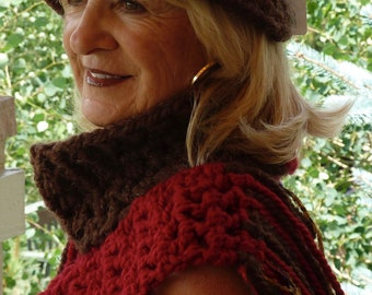 Chunky brown and red yarns create a grand hat and scarf set, unique and original winter Bohemian accessories, original crochet