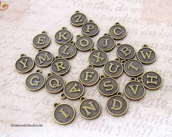 Add on round initial charm, personalized antique brass initial disc