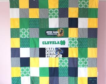 Baby Quilt Blanket - Patchwork Quilt -  Baby T Shirt Quilt - Sports Quilt