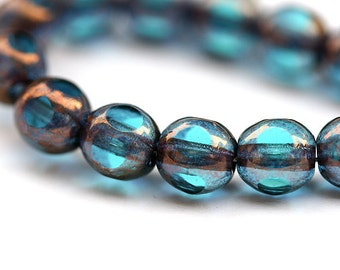 Czech beads blue glass with luster round cut - 6mm - 30pc - 0021