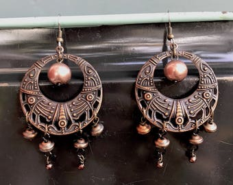 dark copper round upcycled earrings - 754