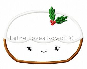 Figgy Pudding Applique Original Artwork by Lethe Loves Kawaii™ Machine Embroidery Design Cute Chibi Figgy Pudding
