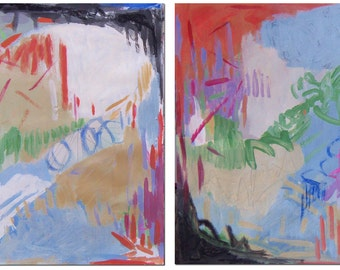 SNOW MELT Original Diptych PAINTING  #1443 Abstract Modern Contemporary Art Colorful Two Part Painting Orange Purple Blue Mixed Media
