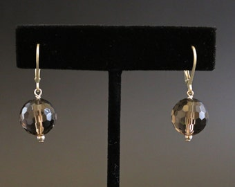 Smokey Quartz and Sterling Silver Drop Earrings