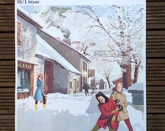 Vintage Français école affiche l'hiver (hiver)