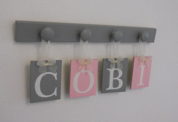Baby decor pink and gray nursery baby girl personalized like this item negle Image collections