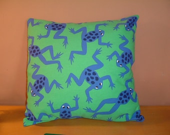 """Frog cushion / pillow cover in blue and green 16""""x16"""""""