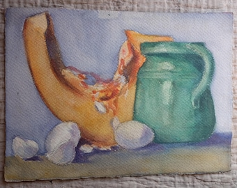 1900s French antique watercolour, still life 'nature morte', melon, eggshell in kitchen painting, green pottery paper, Vintage Collectible