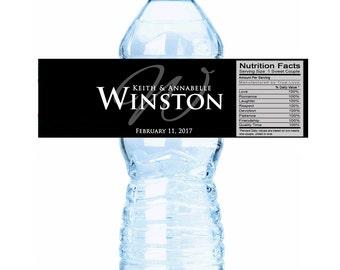 30 Monogram Wedding Water Bottle Labels - Monogram Bottle Labels - Wedding Monogram Labels - Wedding Decor - Wedding Ideas