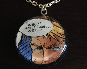 Welly, well, well, well! Comic Book Necklace- Comic Book Scrap in Resin Pendant