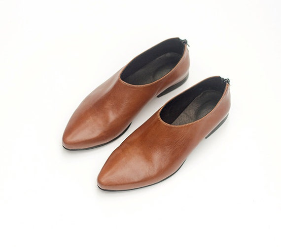 Stylish Leather Loafers Shoes Urban Womens Shoes Flat Leather Flats Shoes Shoes Trendy Brown Shoes Slip Leather On's Shoes xUzHqYaB