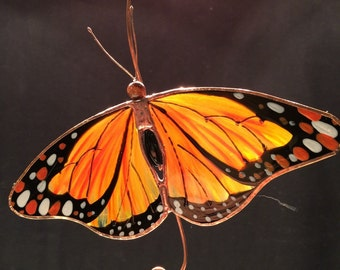 Relaxed Monarch Butterfly stained glass suncatcher