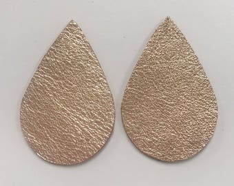 Rose Gold Metallic Genuine Leather Teardrops, Earring Jewelry Making Supplies, Leather Earring Supply, Metallic Tear Drops, Leather supplies