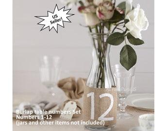 burlap table numbers, rustic wedding decorations, adjustable, country western, barn wedding ideas, natural fibers, hemp, jute, tan and white