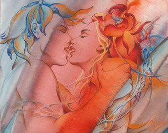 kiss love woman man boy girl couple romantic pair valentine marriage wedding erotic art intimacy lotus flower abstract realism painting gift
